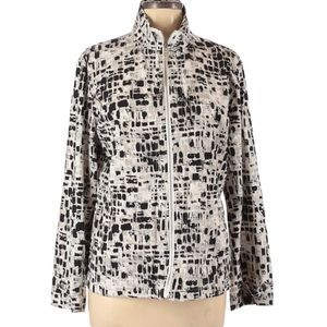 Chico's Black, White and Silver Zip Up Jacket
